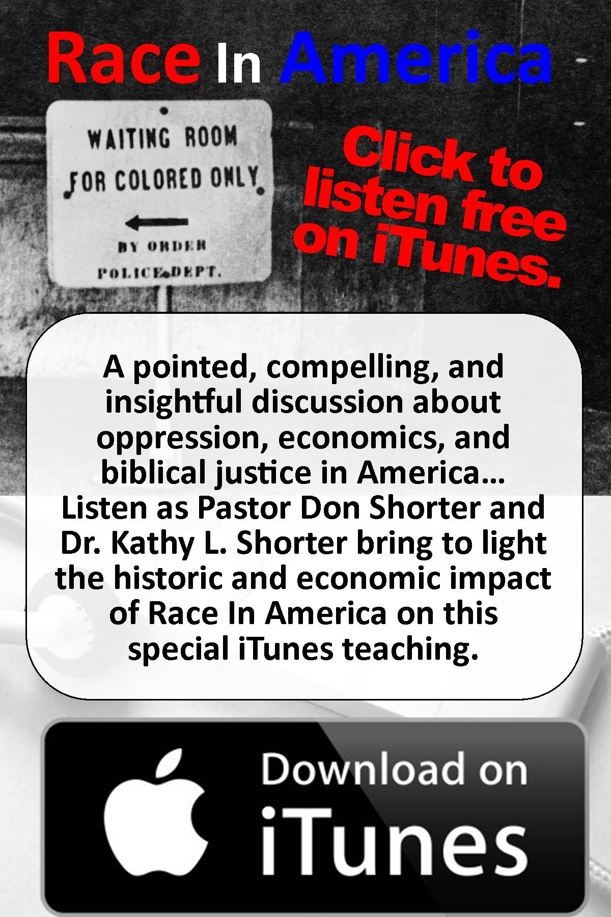 "Listen Free to the message ""Race In America"" on iTunes!"